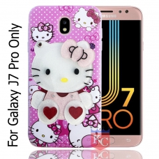 KC Mirror Kitten Girl with Red Hearts Diamonds Studs Back Cover for Samsung Galaxy J7 Pro - Pink